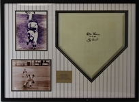 "Don Larsen (d. 2020) ""10-8-56"" & Yogi Berra Dual Signed Home Plate in The Perfect Plate Framed Display (JSA LOA)"