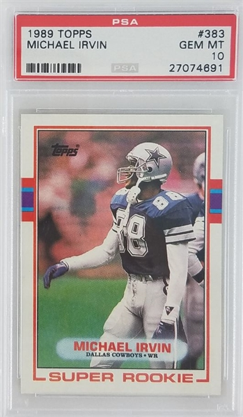 Michael Irvin Dallas Cowboys 1989 Topps Rookie Football Card #383 - Graded Gem Mint 10! (PSA)