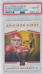 Patrick Mahomes II Kansas City Chiefs 2017 Panini Donruss Rookie Gridiron Kings Rookie Football Card #2 - Graded Gem Mint 10! (PSA)