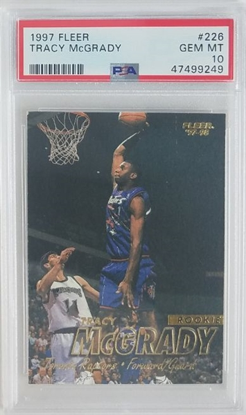 Tracy McGrady Toronto Raptors 1997 Fleer Rookie Basketball Card #226 - Graded Gem Mint 10! (PSA)