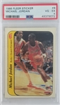 Michael Jordan Chicago Bulls 1986 Fleer Sticker Rookie Basketball Card #8 - Graded VG-EX 4 (PSA)