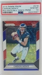 Carson Wentz Philadelphia Eagles 2016 Panini Prizm Red White and Blue Disco Prizm Rookie Football Card #218 - Graded Gem Mint 10! (PSA)
