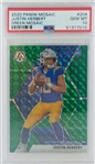 Justin Herbert Los Angeles Chargers 2020 Panini Mosaic Green Mosaic Rookie Football Card #204 - Graded Gem Mint 10! (PSA)