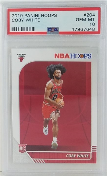 Coby White Chicago Bulls 2019 Panini Hoops Rookie Basketball Card #204 - Graded Gem Mint 10! (PSA)