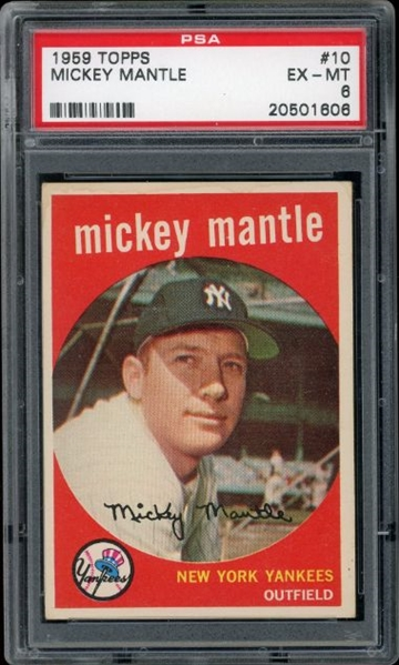 Mickey Mantle 1959 Topps Baseball Card #10- Graded EX-MT 6 (PSA)