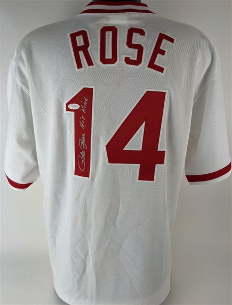 "Pete Rose ""Hit King"" Signed Cincinnati Reds Majestic Cooperstown Collection Throwback Jersey (JSA Witness COA)"