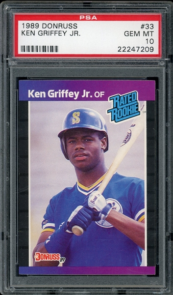 Ken Griffey Jr. 1989 Donruss #33 Rookie Card - Graded Gem Mint 10! (PSA)