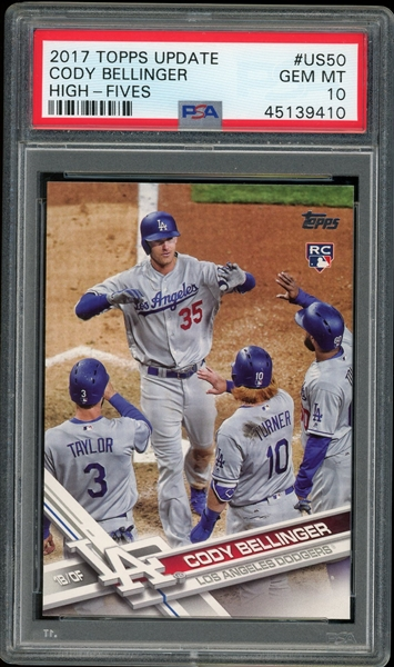 Cody Bellinger 2017 Topps Update High-Fives Rookie Baseball Card #US50 - Graded Gem Mint 10! (PSA)