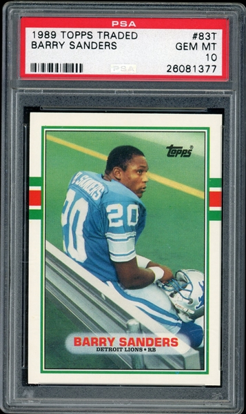 Barry Sanders Detroit Lions 1989 Topps Traded Rookie Football Card #83T - Graded Gem Mint 10! (PSA)