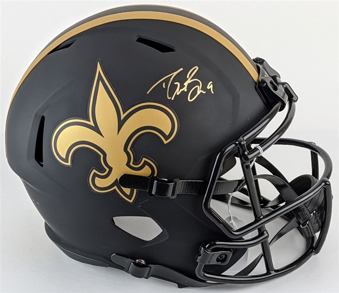 Drew Brees Signed Full Size Replica New Orleans Saints Eclipse Alternate Helmet (Beckett Witness COA)