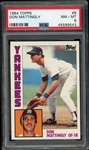 Don Mattingly 1984 Topps Rookie Baseball Card #8 - Graded NM-MT 8 (PSA)