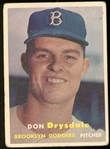 Don Drysdale 1957 Topps Rookie Baseball Card #18