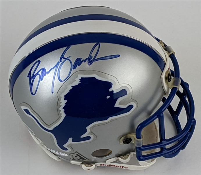 Barry Sanders Signed Detroit Lions Mini Helmet (Beckett COA)