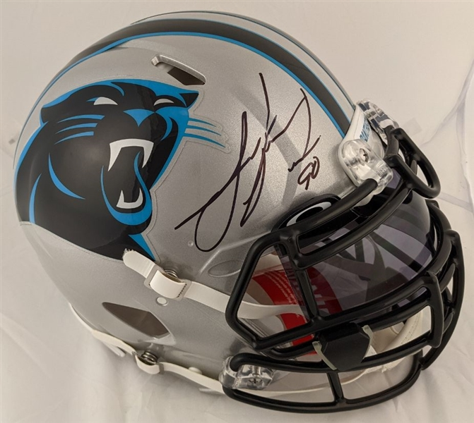 Julius Peppers Signed Full Size Speed Authentic Carolina Panthers Helmet w/ Visor (Radtke Sports COA)