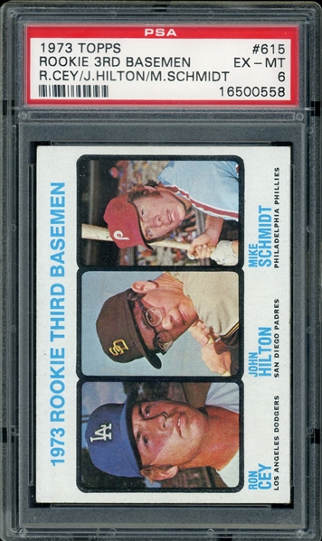 Mike Schmidt 1973 Topps Baseball Card #615 - Graded EX-MT 6 (PSA)
