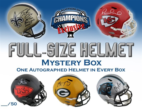 Autographed Full Size Helmet Mystery Box - Mahomes, Brees, Rodgers, McCaffrey & More!  - Limited To 50!