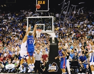 Mario Chalmers Signed Kansas Jayhawks 2008 National Title Game-Tying Shot 8x10 Photo (JSA COA)