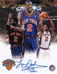 Larry Johnson Signed New York Knicks 8x10 Photo (Pro Player COA)