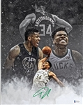 Giannis Antetokounmpo Signed Milwaukee Bucks 11x14 Photo (Beckett Witness COA)