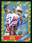 Jerry Rice Signed Rookie Reprint Football Card (JSA COA)