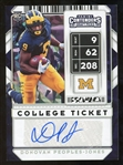 Donovan Peoples-Jones 2020 Panini Contenders Cracked Ice Refractor Lmt. Ed. Rookie Autographed Football Card - #5 of 23!